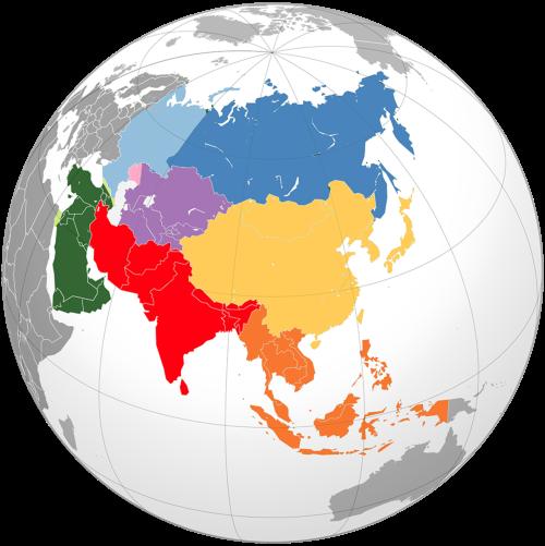 Continente asiatico vista dal globo