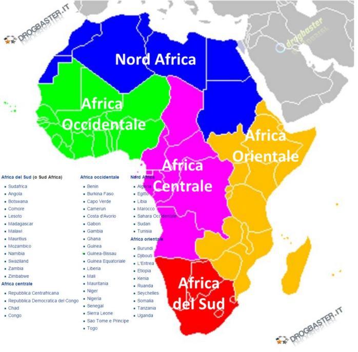 suddivisione degli stati africani nel continente