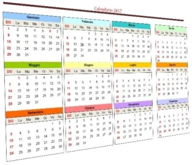 modelli calendario multicolor