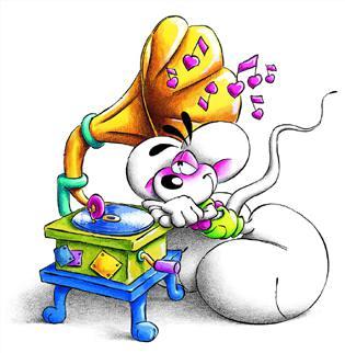 Diddl ascola la musica con grammofono