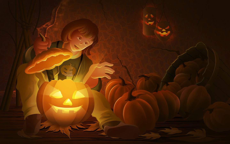 Wallpapers gratis per la festa di halloween for Zucca halloween luminosa