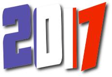 scritta anno 2017 con formato bandiera Francia