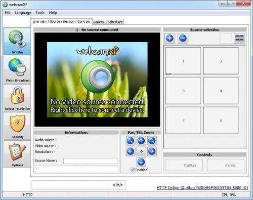 screenshot del programma Webcam XP