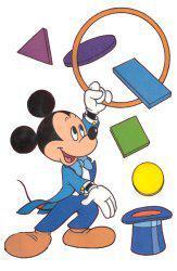 topolino che fa il giocoliere con le forme