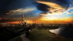 città futuristica sfondo 3d