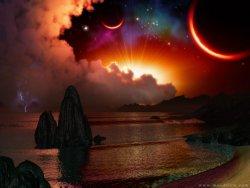 sole tramonta, rende il cielo rosso illumina i pianeti