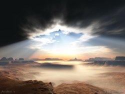 cielo nero con raggio di sole che illumina la valle
