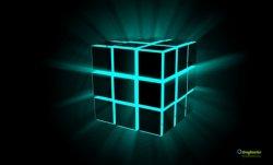 neon cube in prospettiva 3d