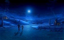 cielo blu, luna illumina la strada