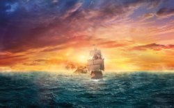 galeoni dei pirati si allontanano dall'isola teschio