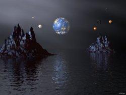 sfondo fantasy con panorama pianeti