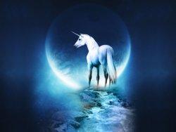 unicorso con sfondo la luna