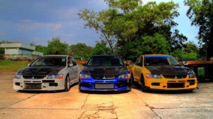 Tre Auto Mitsubushi lancer, evolution e xgt con modifiche
