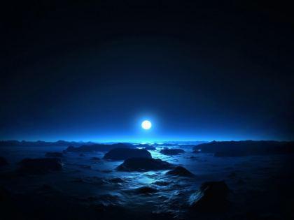 Luna Blue riflette sul paesaggio