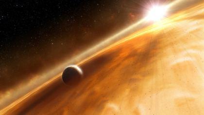 Galassia costellazione nube avvolge il pianeta