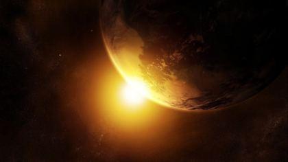 Sole illumina la terra vista dallo Spazio