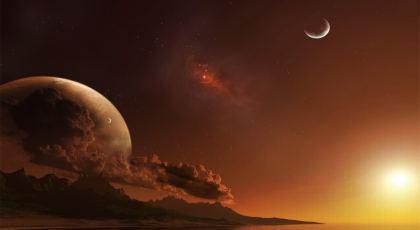Vista cosmica del Pianeta con asteroidi e stelle