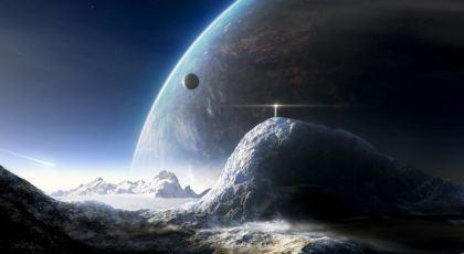 Sfondo fantastico pianeta con panorama