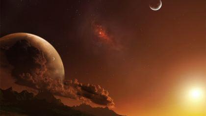 Sole Luna sfondo fantastico