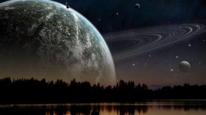 Panorama vista Pianeta Saturno