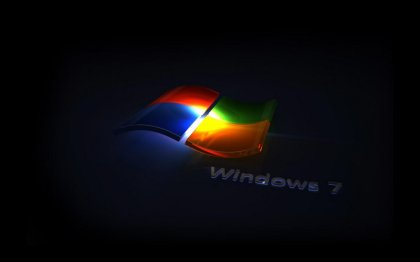 Logo Windows 7 con sfondo nero