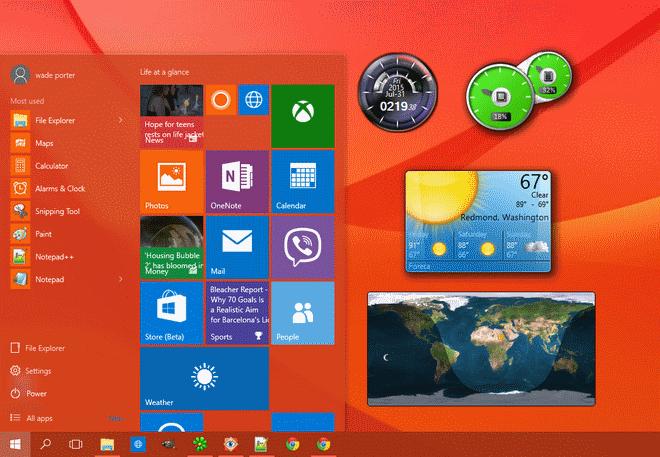 Gadget Desktop su Windows 10