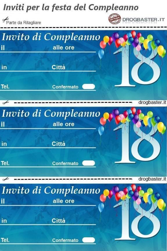Favoloso Biglietti di invito compleanno, gratis inviti festa ES14