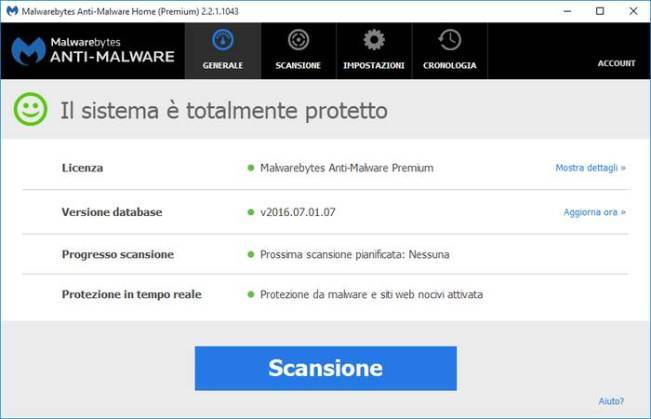 screenshots software Malwarebytes