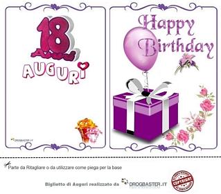 biglietto Auguri 18 anni con scritta Happy Birthday