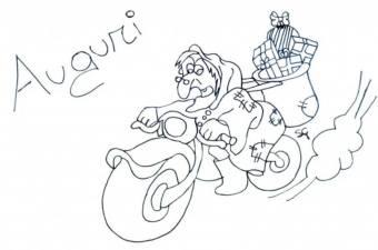 befana auguri con la moto