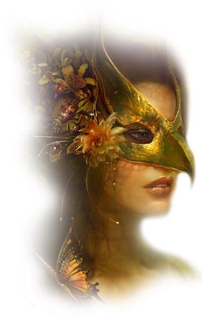 donna indossa una maschera di carnevale