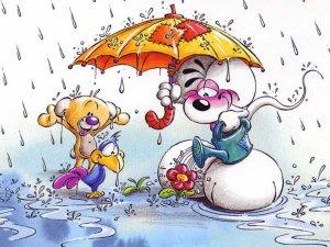Diddl e pimboli sotto la Pioggia con ombrello