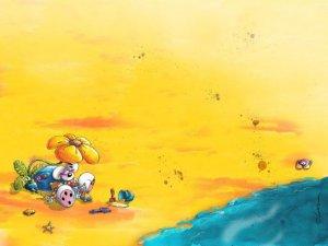Diddl che gioca in spiaggia