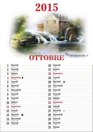 Calendario 2015 mese di Ottobre