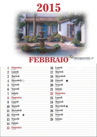 Calendario 2015 mese di Febbraio