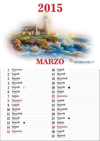 Calendario 2015 mese di Marzo