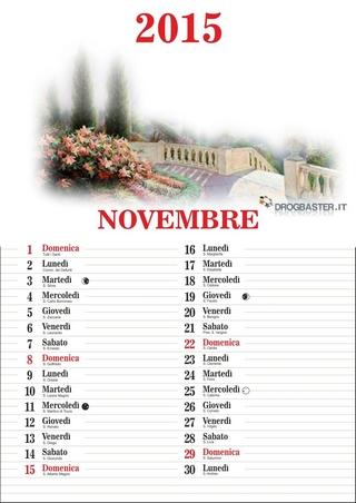 Calendario 2015 mese di Novembre