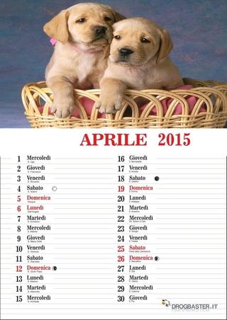 calendario del mese di aprile 2015