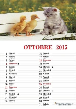 calendario del mese di ottobre 2015