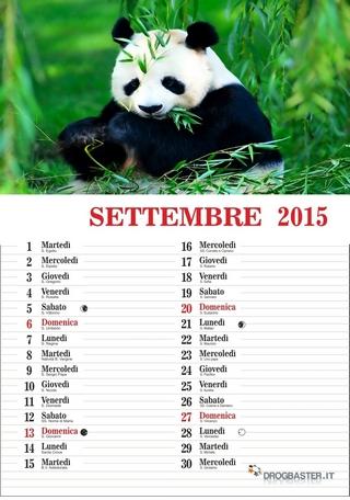 calendario del mese di settembre 2015