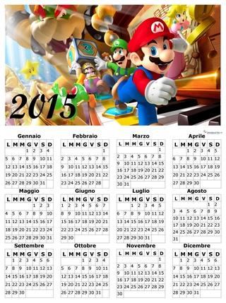 calendario per bambini con Mario Bros