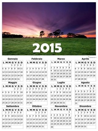calendario 2015 con sfondo paesaggio