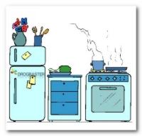 Disegno colorato della Cucina di casa