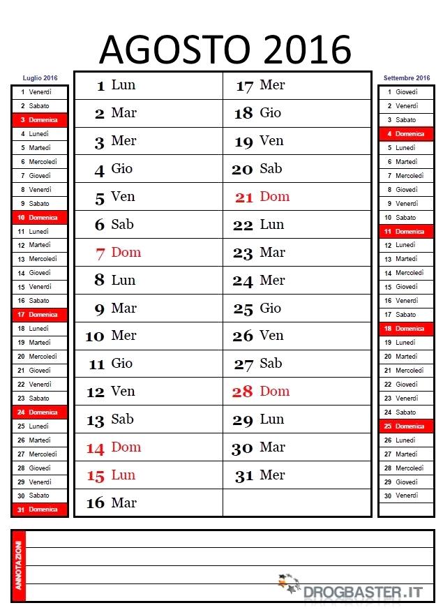 Estremamente Calendario Mensile 2016 da stampare HL72