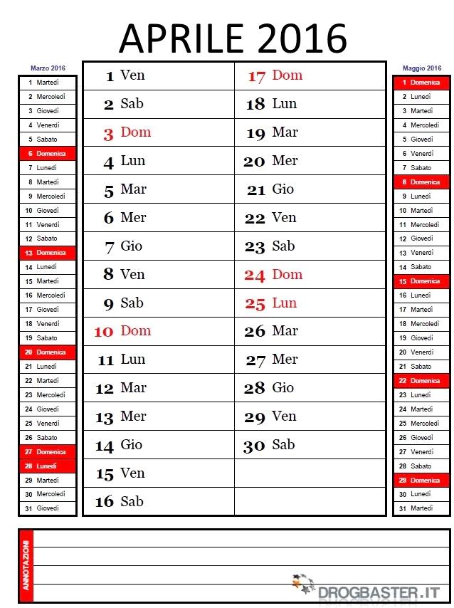 Preferenza Calendario Mensile 2016 da stampare QH11