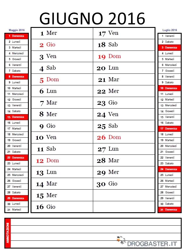 Calendario Mensile 2016 da stampare