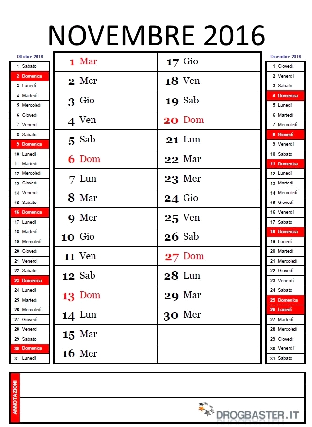 abbastanza Calendario Mensile 2016 da stampare WS21