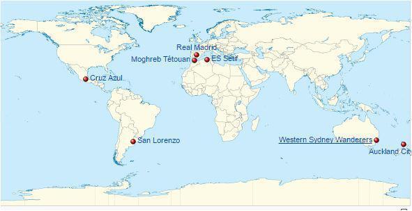 Posizione geografica squadre partecipanti al torneo 2014