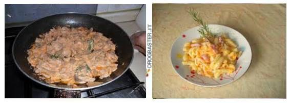 pasta gialla con panna e pancetta
