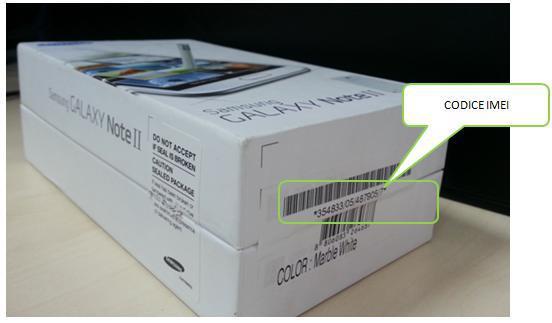 codice IMEI raffigurato nella scatola del dispositivo